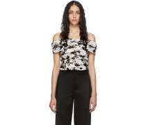 Black and Off-White Missy Crop Top
