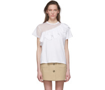 White Mesh Asymmetrical Tshirt