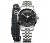 Alliance Quarzuhr Edelstahl black silver