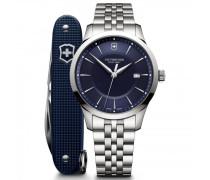 Alliance Quarzuhr Edelstahl blue silver
