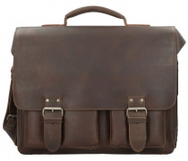 Hunter Finn Aktentasche Leder Laptopfach vintage brown