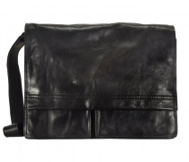 Saddle Messenger Leder Laptopfach schwarz