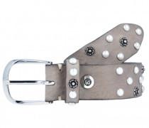 Nietengürtel Leder grau