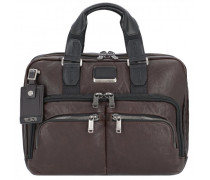 Alpha Bravo Albany Aktentasche Leder Laptopfach dark brown