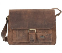 Antik Messenger Leder Laptopfach natur