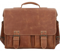 Hunter Finn Aktentasche Leder Laptopfach vintage tan