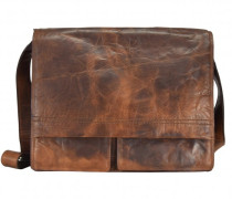 Saddle Messenger Leder Laptopfach braun