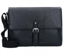 Berlin Messenger Umhängetasche Leder Laptopfach schwarz