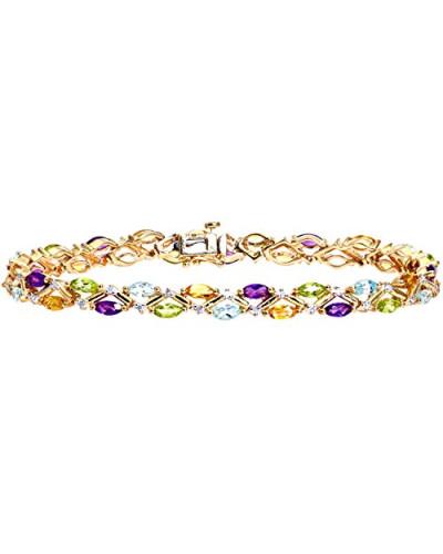 Armband Gelbgold 9 K Diamant und Multi-Edelstein Amethyst lila Ovalschliff 1