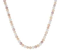 Kette Hochwertige Süßwasser-Zuchtperlen in ca. 7 mm Oval weiß/apricot/flieder 925 Sterling Silber in verschiedenen Länge - Perlenkette Halskette mit echten Perlen 60201627