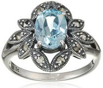Ring 925 Silber vintage-oxidized Topas blau Markasit 50 (15.9) - L0017R/90/W4/50