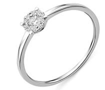 Solitär-Ring Weißgold 9 kt Diamant 0,16 Karat, Größe 52
