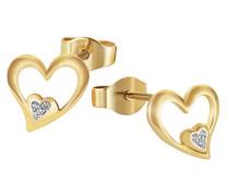 Ohrstecker Herzen 375 Gelbgold 6 Diamanten 0