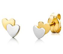Ohrstecker Doppelherzchen 750 Gelb-/Weißgold