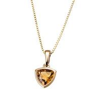 Damencollier golden triangle 375 Gelbgold 1 Citrin gelb Trilion 6x6 mm Venezianer 45 cm