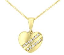 Halskette 375 Gelbgold Oxyde de Zirconium 9 karat weiß Rundschliff P1610Y