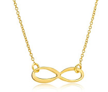 Kette - Halskette Gelbgold 9 Karat/375 Gold Kette mit Unendlichkeit - Infinity Zeichen 47.5 cm