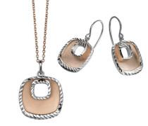Set: Halskette + Ohrringe 925 Sterling Silber mattiert silber SET-5188