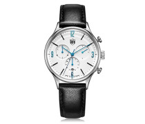 Chronograph Quarz Uhr mit Leder Armband DF-9002-03