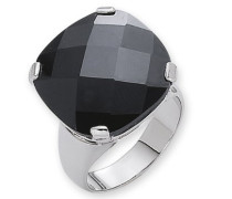 Damenring mit schwarzem Zirkonia im Checkerboard-Schliff