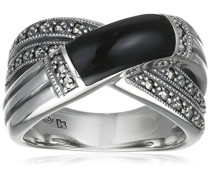 Ring 925 Silber vintage-oxidized Onyx schwarz Markasit 50 (15.9) - L0003R/90/B6/50