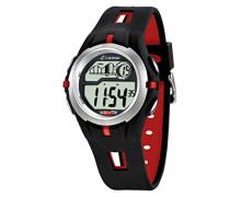 Armbanduhr Digitaluhr mit LCD Zifferblatt Digital Display und schwarz Kunststoff Gurt K5511/4