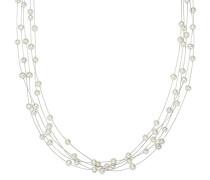 Kette Hochwertige Süßwasser-Zuchtperlen in ca. 4 mm Oval weiß 925 Sterling Silber 43 cm - Perlenkette mit echten Perlen mehrreihig 400310