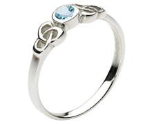 Ring Sterling Silber Blau Topas keltisch rund Stein – Größe F