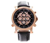 Automatik Armbanduhr von für Männer mit einem echten Diamanten mit Schwarzem Zifferblatt Analoger Anzeige und Schwarzem Armband aus Leder SK14H034