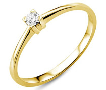 Ring Solitär Verlobungsring Gelbgold 18 Karat/750 Gold Diamant Brilliant 0.07 ct