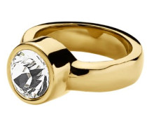 "Ring Edelstahl 24ct. Vergoldet 1 Swarovski-Kristall ""Cyrielle"" 54 (17.2) 330328"