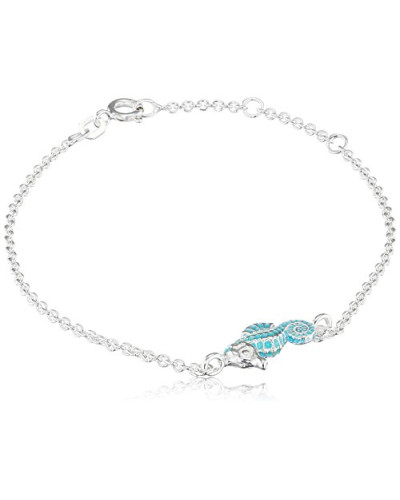 Armband sealife mit Seepferdchen 925 (Silber material) Emaille 19.5 cm - LD SL 83