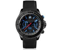 - BMW Motorsport (steel) Black - Schwarze Herrenuhr mit Lederarmband - Chrono - 001119 (Large)