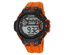 Digitale Armbanduhr mit LCD Dial Digital Display und Orange Kunststoff Gurt k5696/4
