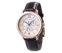 Cornwell Sweep Second Retrograde ES-8060-03 Armbanduhr mit Quarzuhrwerk, silbernes Zifferblatt mit klassischer Analoganzeige