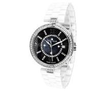 Armbanduhr - Analog Quarz - Premium Keramik Armband - Perlmutt Zifferblatt - Diamanten und Swarovski Elemente - STM15SM1