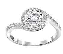 Damen-Ring rhodiniert Kristall transparent