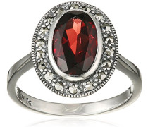 Ring 925 Silber vintage-oxidized Granat rot Markasit 58 (18.5) - L0092R/90/M2/58