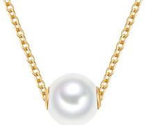 Kette mit Anhänger Sterling Silber gelbvergoldet mit Süßwasser-Zuchtperle weiß 42 cm + 5 cm Verlängerung - Perlen-Kette lang mit Perlen-Anhänger groß