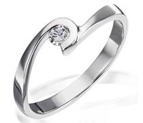 Ring Solitär Verlobungsring 925 Silber rhodiniert Diamant (0.1 ct) Brillantschliff weiß