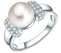 Ring Hochwertige Süßwasser-Zuchtperlen in ca. 10 mm Button weiß 925 Sterling Silber Zirkonia weiß - Perlenring mit echten Perle weiss 60201408