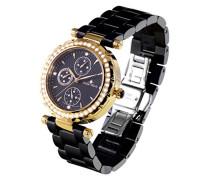 Armbanduhr - Analog Quarz - Premium Keramik Armband - Perlmutt Zifferblatt - Diamanten und Swarovski Elemente - STM18SM27