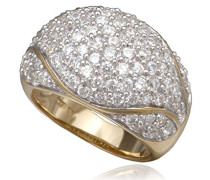 Ring 925 Silber teilvergoldet Zirkonia weiß Rundschliff