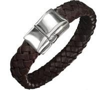 Herren Armband Edelstahl Leder 22 cm braun B3673