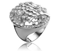 Ring 925 Silber rhodiniert Zirkonia weiß Brillantschliff