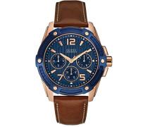 Herren-Armbanduhr Analog Quarz Leder W0600G3