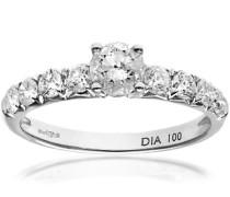 -Ring 18 K Weißgold Diamant IJ/I mit Brillant rund