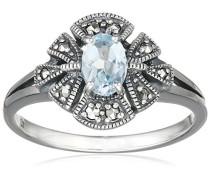 Ring 925 Silber vintage-oxidized Topas blau Markasit 52 (16.6) - L0018R/90/W4/52