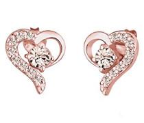 Ohrringe Herz Liebe Freundschaft Liebesbeweis 925 Sterling Silber Swarovski Kristalle rosevergoldet