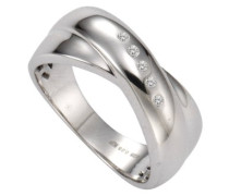 Ring 925 Sterling Silber 5x Diamanten 0.05 ct.